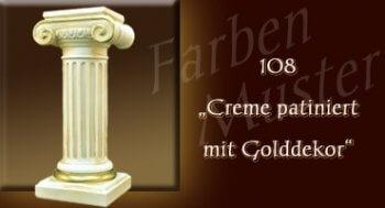 Farben Muster - Säulen Normal: 108 - Creme Patiniert mit Golddekor