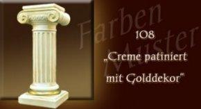 Wandlampe Farben Muster - Säulen Normal: 108 - Creme Patiniert mit Golddekor