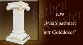 Wandlampe Farben Muster - Säulen Normal: 109 - Weiß Patiniert mit Golddekor