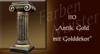 Skulptur Farben Muster - Säulen Normal: 110 - Antik Gold mit Golddekor