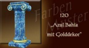 Säule Farben Muster - Säulen Marmor Optik: 120 - Azul Bahia mit Golddekor
