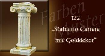 Farben Muster - Säulen Marmor Optik: 122 - Statuario Carrara mit Golddekor