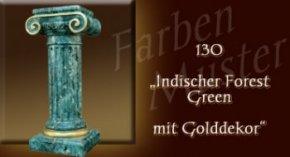 Farben Muster - Säulen Marmor Optik: 130 - Indischer Forest Green mit Golddekor