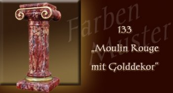 Farben Muster - Säulen Marmor Optik: 133 - Moulin Rouge mit Golddekor