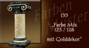 Farben Muster - Säulen Marmor Optik: 135 - Farben Mix mit Golddekor