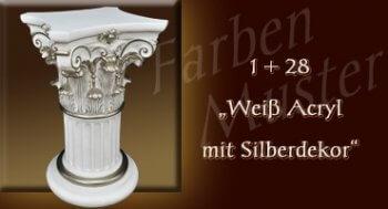 Farben Muster - Säulen Normal: 1 + 28 - Weiß mit Silberdekor