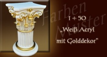Farben Muster - Säulen Normal: 1 + 50 Weiß mit Golddekor