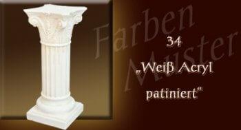 Beistelltisch - Farben Muster - Säulen Normal: 34 - Weiß Patiniert
