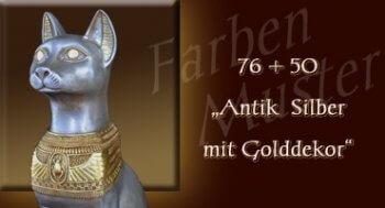 Bastet - Farben Muster - Normal: 76 + 50 Antik Silber mit Golddekor