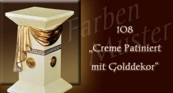 Farben Muster - Versace groß Normal: 108 - Creme Patiniert mit Golddekor