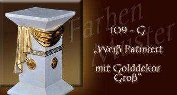 Lowboard Farben Muster - Versace groß Normal: 109 G - Weiß Patiniert mit Golddekor Groß