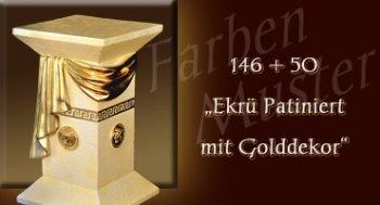 Farben Muster - Versace groß Normal: 146 + 50 - Ekrü Patiniert mit Golddekor