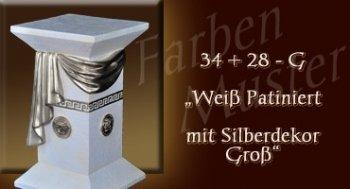 Lowboard Farben Muster - Versace groß Normal: 34 + 28 G - Weiß Patiniert mit Silberdekor Groß