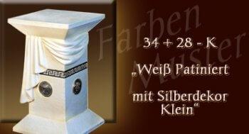 Lowboard Farben Muster - Versace groß Normal: 34 + 28 k - Weiß Patiniert mit Silberdekor Klein