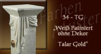 Lowboard Farben Muster - Versace groß Normal: 34 TG - Weiß Patiniert ohne Dekor Talar Gold