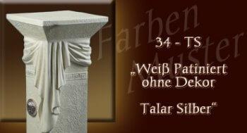 Lowboard Farben Muster - Versace groß Normal: 34 TS - Weiß Patiniert ohne Dekor Talar Silber