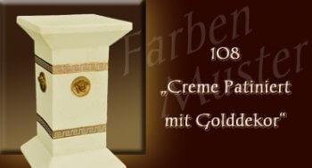 Beistelltisch - Farben Muster - Versace klein Normal: 108 - Creme Patiniert mit Golddekor
