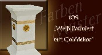 Säule - Farben Muster - Versace klein Normal: 109 - Weiß Patiniert mit Golddekor
