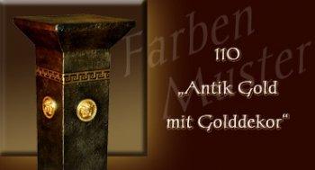 Säule - Farben Muster - Versace klein Normal: 110 - Antik Gold mit Golddekor