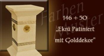 Säule - Farben Muster - Versace klein Normal: 146 + 50 - Ekrü Patiniert mit Golddekor