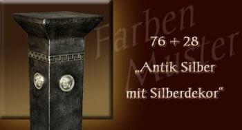 Farben Muster - Versace klein Normal: 76 + 28 - Antik Silber mit Silberdekor