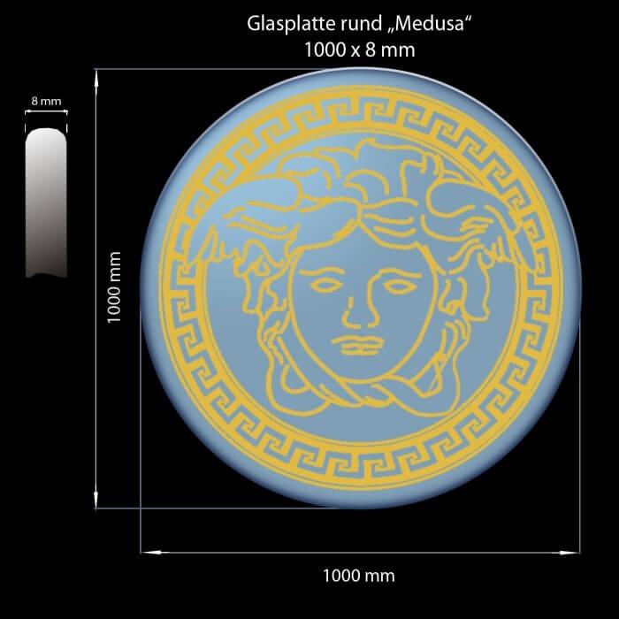 Glasplatte 1000 x 8 mm Rund Medusa