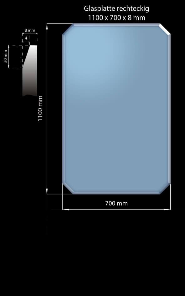 Glasplatte 1100 x 700 x 8 mm Rechteckig