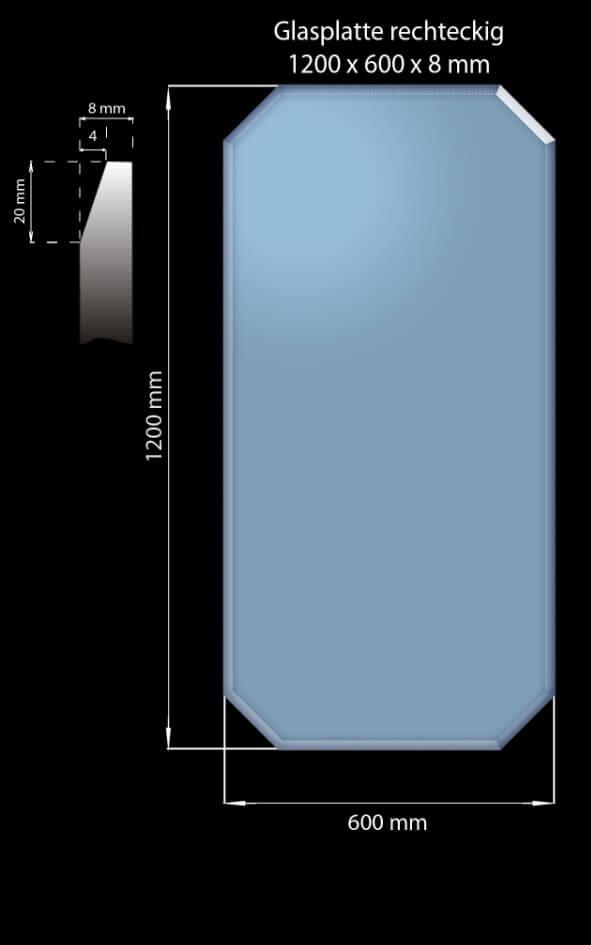 Glasplatte 1200 x 600 x 8 mm Rechteckig