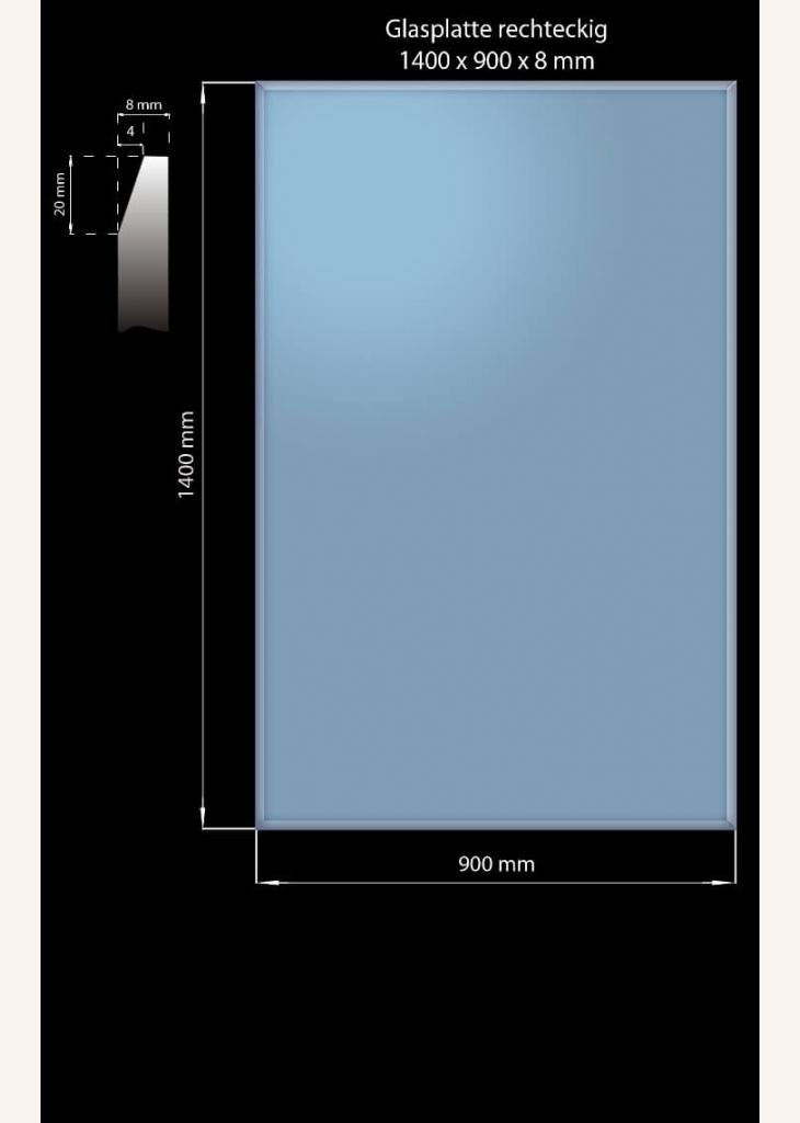 Glasplatte 1400 x 900 x 8 mm Rechteckig