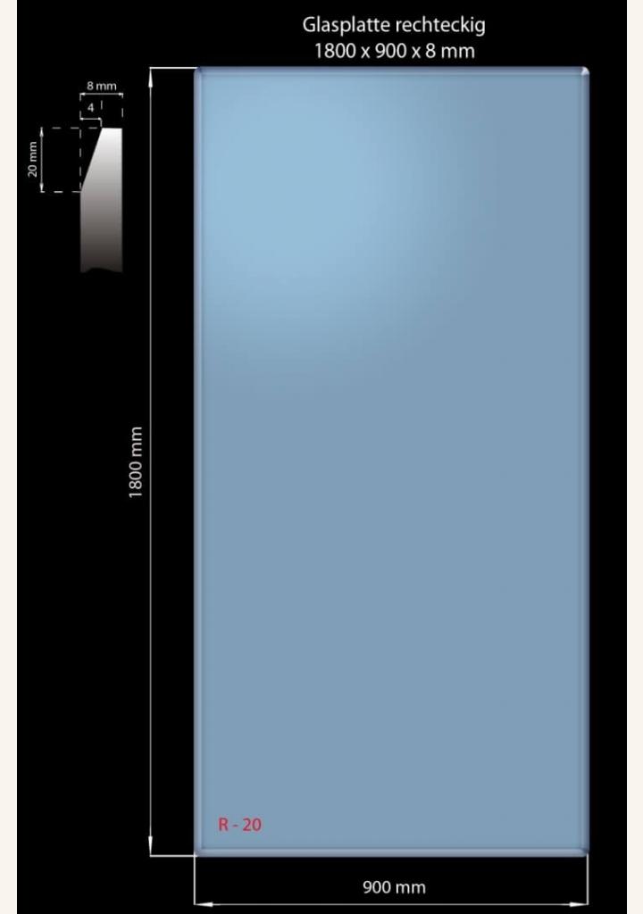 Glasplatte 1800 x 900 x 8 mm Rechteckig