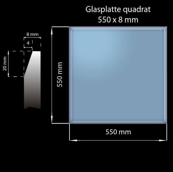 Glasplatte 550 x 550 x 8 mm Quadrat mit Facettenschliff