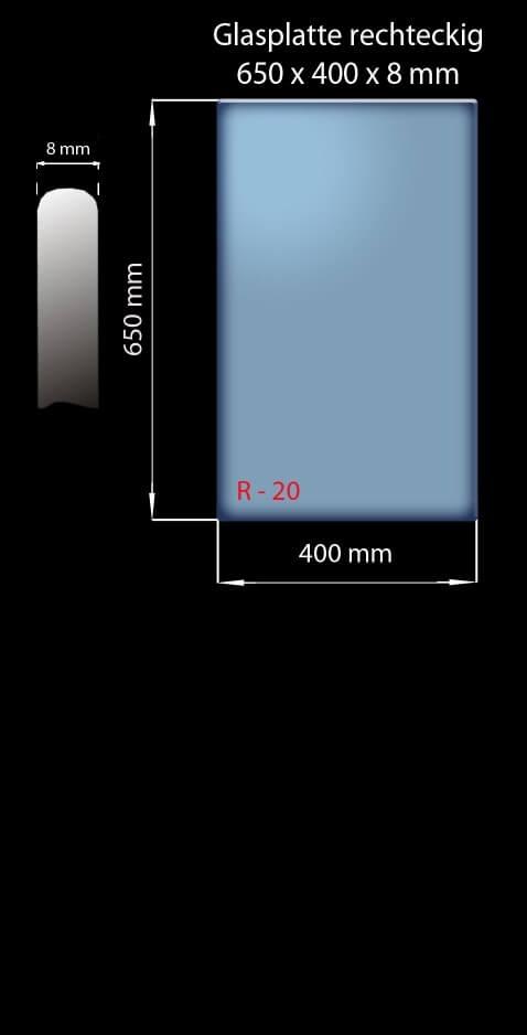 Glasplatte 650 x 400 x 8 mm Rechteckig