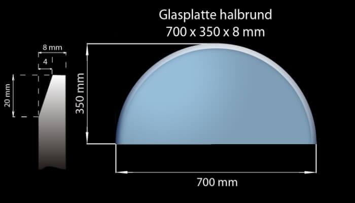 Glasplatte 700 x 350 x 8 mm Halboval