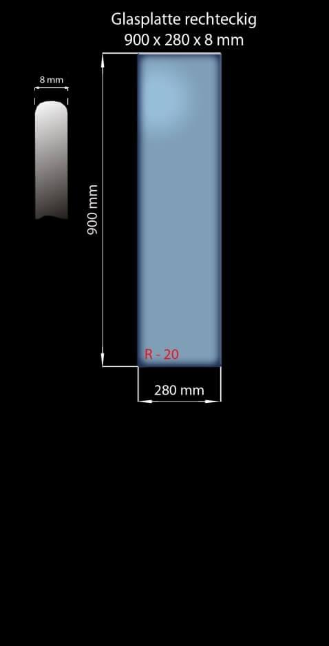 Glasplatte 900 x 280 x 8 mm Rechteckig