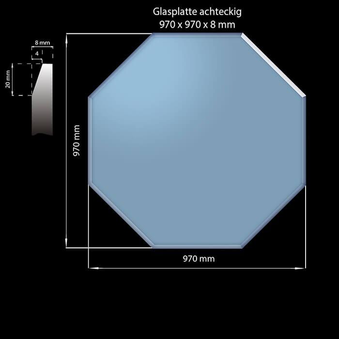 Glasplatte 970 x 970 x 8 mm Achteckig