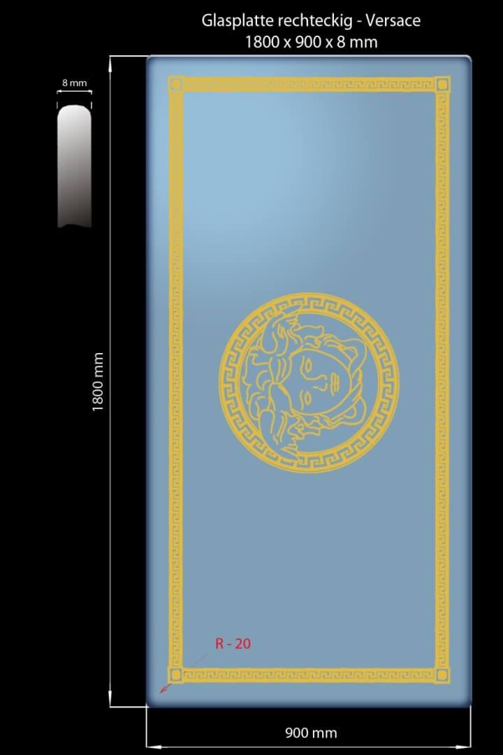 Glasplatte Medusa Mäander 1800 x 900 x 8 mm Rechteckig
