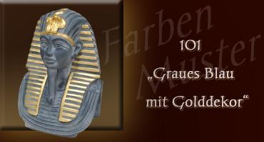 Tutanchamun Farben Muster - Normal: 101 - Graues Blau mit Golddekor