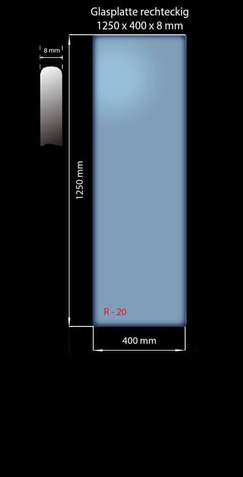 Glasplatte 1250x400x8 mm Rechteckig