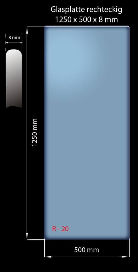 Glasplatte 1250x500x8 mm Rechteckig