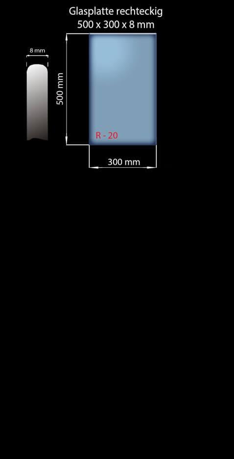 Glasplatte 500x300x8 mm Rechteckig