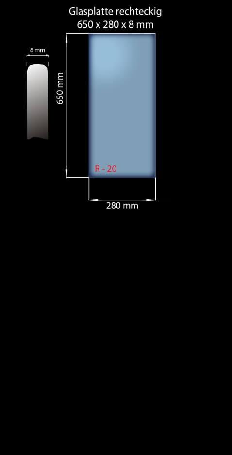 Glasplatte 650x280x8 mm Rechteckig