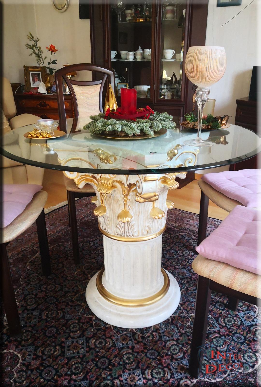 Esstisch Wohnzimmertisch Antik Saule Tisch Glastisch Sto 1021m 97